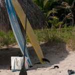 Paddle Surfboards leaning on a Tiki Hut in Delray Beach, Florida