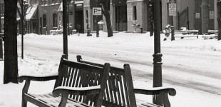 Empty Benches. Main Street Bethlehem Pennsylvania in the Lehigh Valley