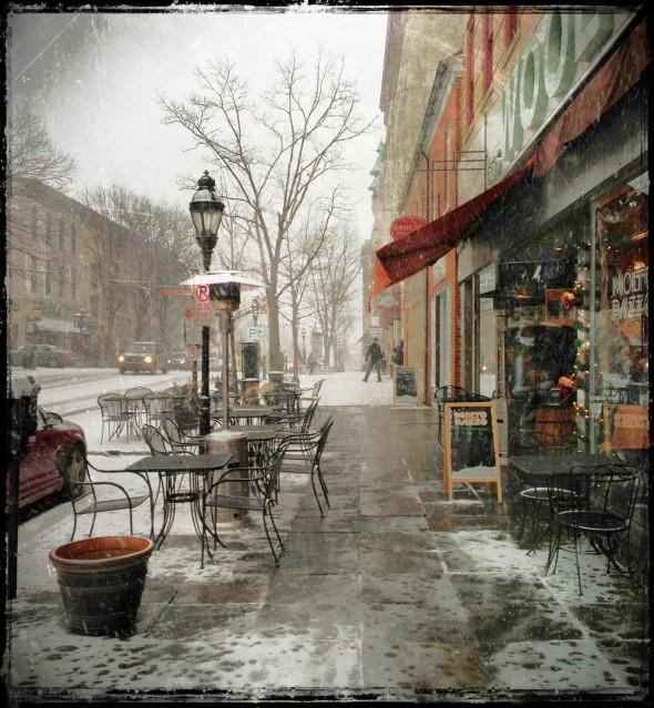 Snowing on Main Street downtown Bethlehem Pennsylvania, the Christmas City