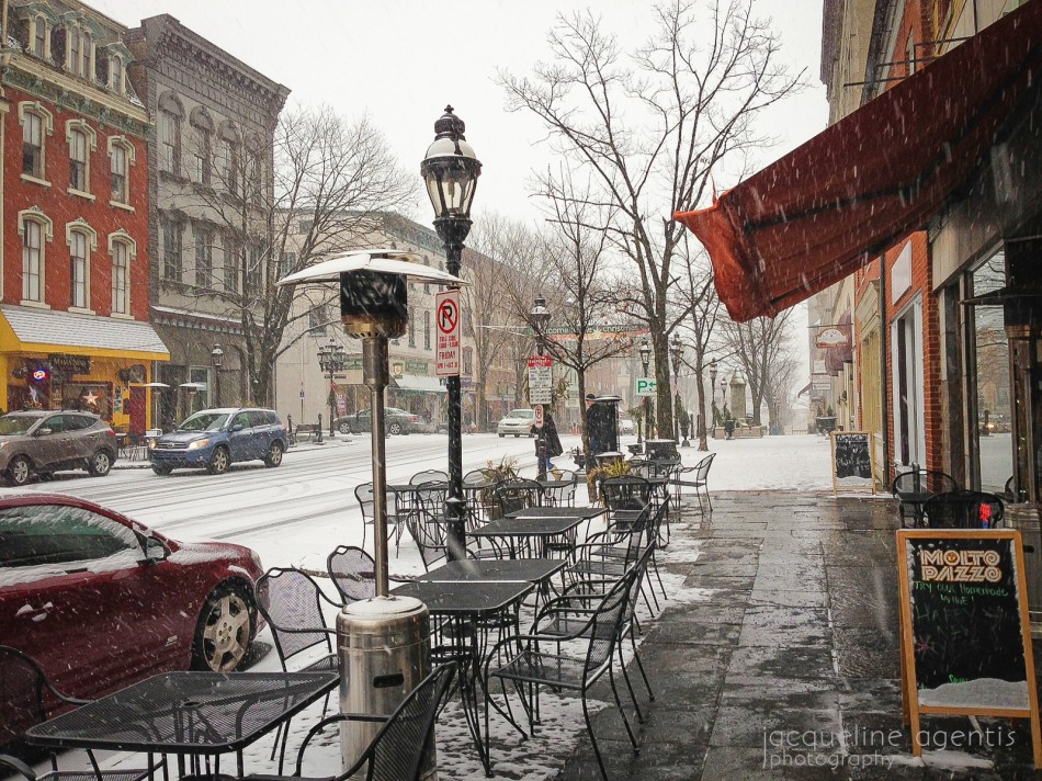 Snowing on Main Street downtown Bethlehem Pennsylvania, the Christmas City